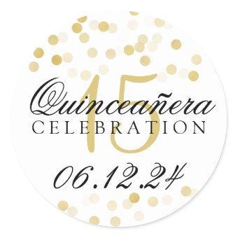 15th Birthday Gold Foil Glitter Lights Classic Round Sticker