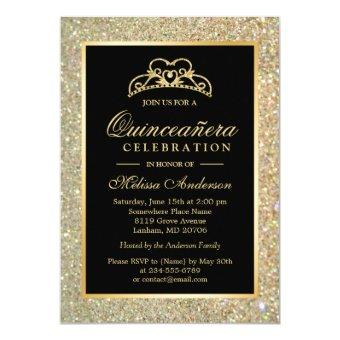Quinceanera 15th Birthday Gold Glitter Sparkles Invitations