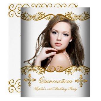 Quinceañera 15th Birthday Gold White Lace Photo