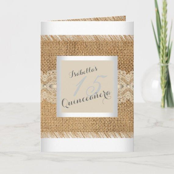 15th Birthday Party beige lace Burlap