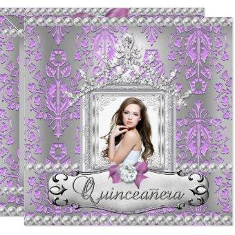 15th Birthday Party Damask Lilac Pearl