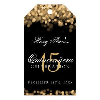 15th Birthday Party Gold Lights Gift Tags