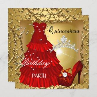 15th Birthday Party Gold Red Dress
