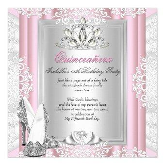 Quinceanera 15th Birthday Party Light Pink Shoes Invitations
