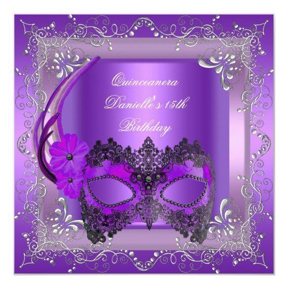 15th Birthday Party Masquerade Purple