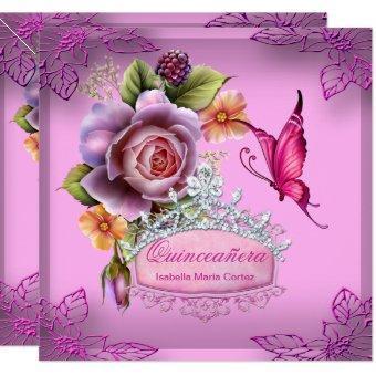 Quinceañera 15th Birthday PINK Tiara Butterfly