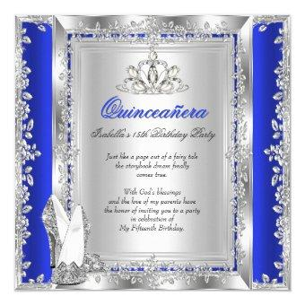 15th birthday royal blue silver shoes - Royal Blue Quinceanera Invitations