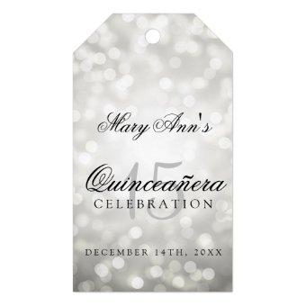 15th Birthday Silver Bokeh Lights Gift Tags