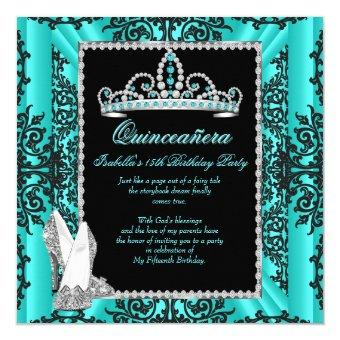 15th Birthday Teal Blue Black Lace