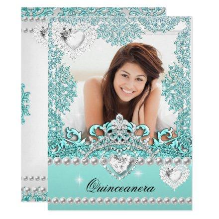 Quinceanera 15th Birthday Teal Blue Silver White Invitation