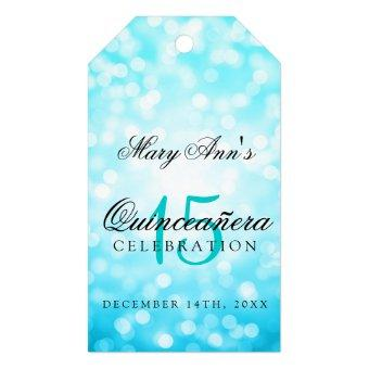 15th Birthday Turquoise Bokeh Lights Gift Tags