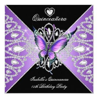 15th Butterfly Purple Black Tiara