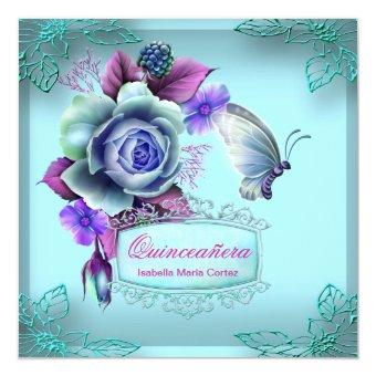 Quinceañera 15th Butterfly Teal Purple Party