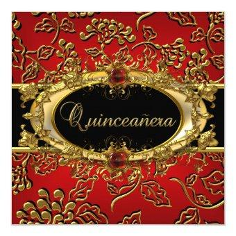 15th Damask Red Gold Black
