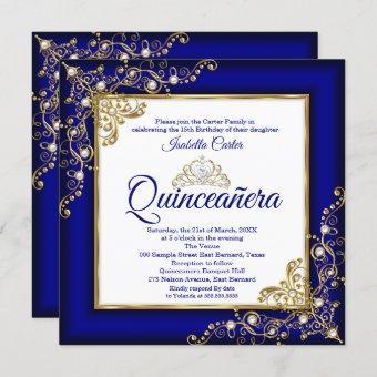 15th Gold Royal Blue Pearl Tiara Photo