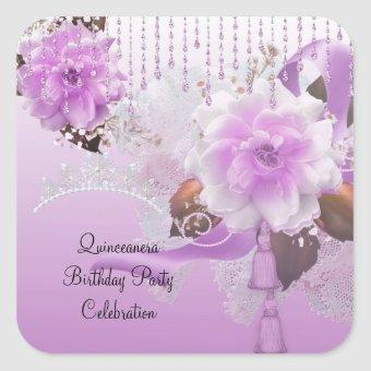 15th Lilac Pink Floral White Square Sticker