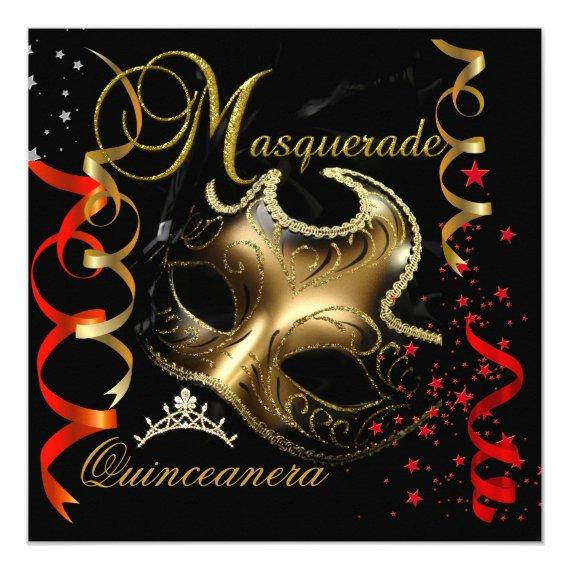 15th Masquerade Red Gold Mask