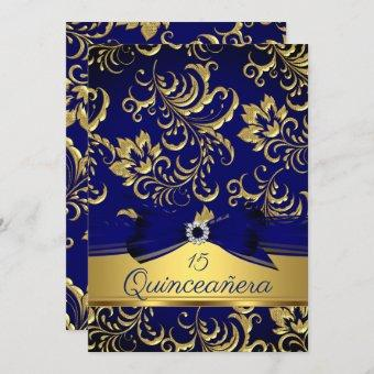 15th Navy Blue Gold Floral Damask Bow