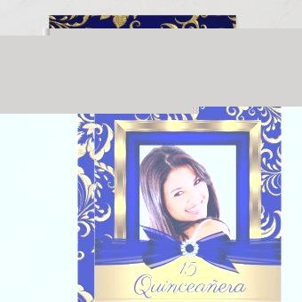 15th Navy Blue Gold Floral Photo