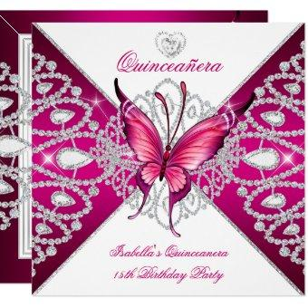 15th Party Dark Pink Butterfly Tiara