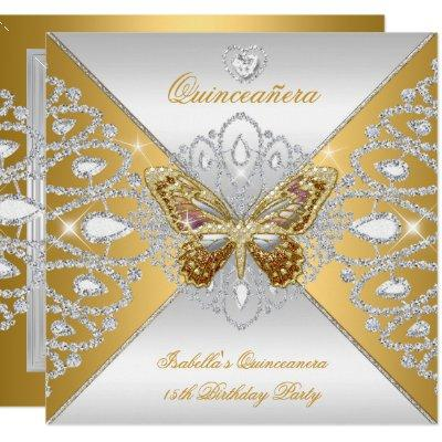 15th Party Gold Silver Butterfly Tiara