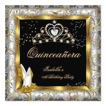 Quinceañera 15th Party Gold Silver Damask Glam