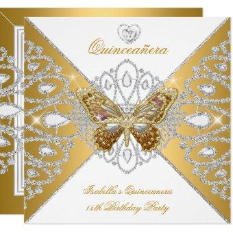 15th Party Gold White Butterfly Tiara