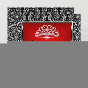 15th Party Red Damask Silver Black 3