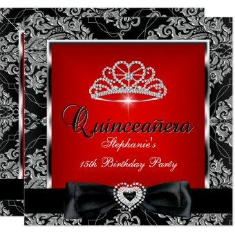 15th Party Red Damask Silver Black