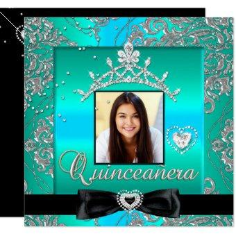 15th Party Teal Silver Damask Photo