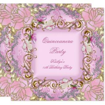 15th Pretty Pink Damask Gold Floral