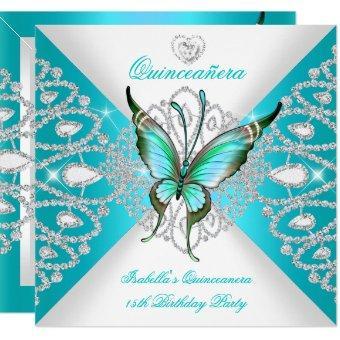 15th Pretty Teal Blue Butterfly Tiara