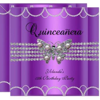 15th Purple Butterfly Pearl Lace