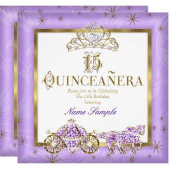 15th Purple Gold Tiara Horse Carriage
