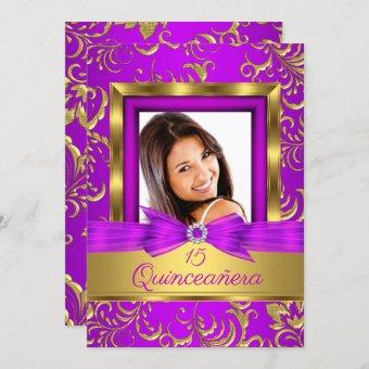 15th Purple pink Gold Damask Photo