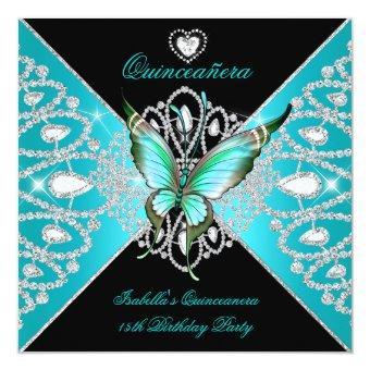 15th Teal Blue Black Butterfly Tiara