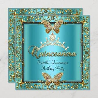 Quinceañera 15th Teal Blue Gold Butterfly