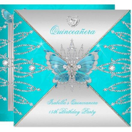15th Teal Blue Silver Butterfly Tiara