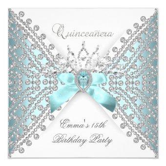15th Teal Blue Silver White Diamond