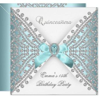 15th Teal Blue White Faux Diamond