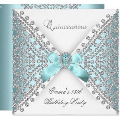 15th Teal Blue White Faux Diamond
