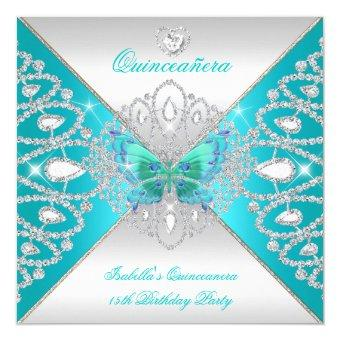 15th Teal Silver Butterfly Tiara 2