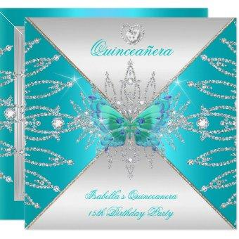 15th Teal Silver Butterfly Tiara 3