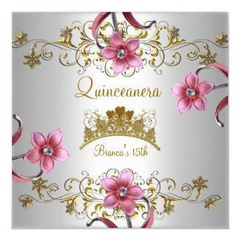 Quinceanera 15th White Pink Flowers Gold Tiara Invitations