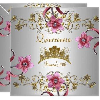15th White Pink Flowers Gold Tiara