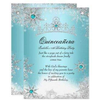 Quinceanera 15th Winter Wonderland Silver Blue 2 Invitation