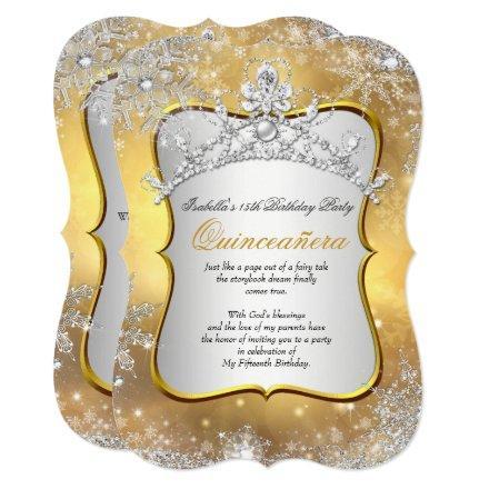 Quinceanera 15th Winter Wonderland Silver Gold Invitation