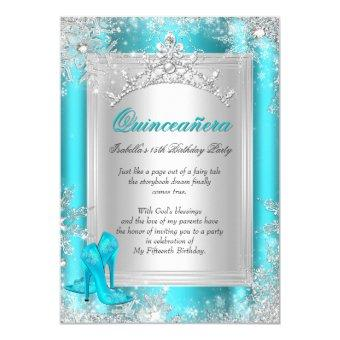 Quinceanera 15th Winter Wonderland Teal Aqua Invitations