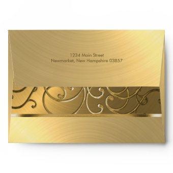 All Gold Filigree Swirl Border Envelope