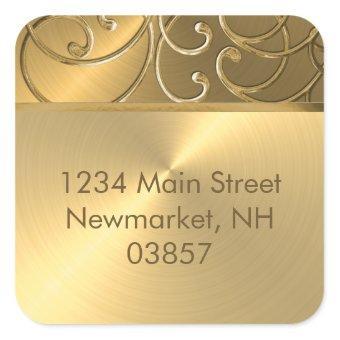 All Gold Filigree Swirl Border Square Sticker